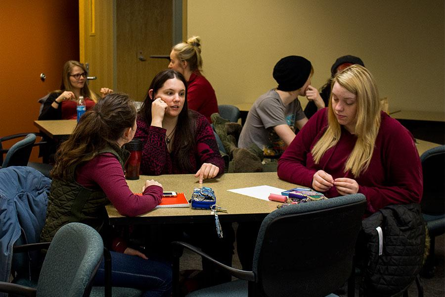 Fine arts junior Hope Kaiser, education senior Kaitlin Dorman, criminal justice sophomore Alison Matthew,  fine arts sophomore Connor Olberding,  biology senior Natalie Cornett, biology senior Abby Weddle and others discuss their goals during the Success Networking Team meeting held by the IUS NSLS chapter on Tuesday, Feb. 9. The meeting occurred before the Juju Chang speaker broadcast.