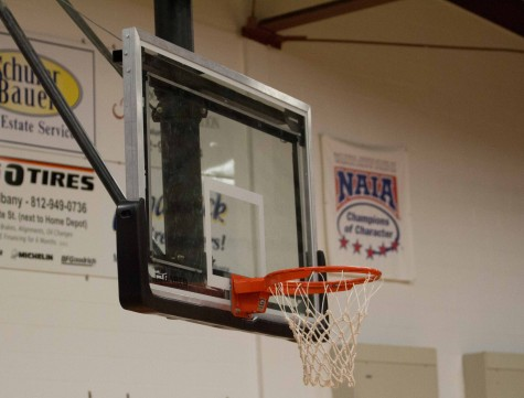 The IUS men's senior day basketball game was cancelled because of the rim being bent. slightly to the left.
