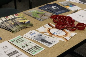 Upon entering University Center North, room 127, attendees could pick up objects on two tables. The objects included various brochures which covered topics like HIV and AIDS, IUS Personal Counseling Services and mental health issues.