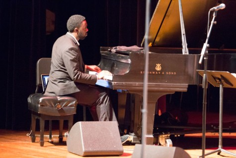 Pianist Brandon Cordoba playing his solo during the 11th Mood of the Langston Hughes Project concert