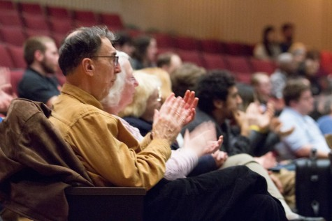 Members of the audience were asked to clap to one of the moods in the concert by Ron McCurdy.