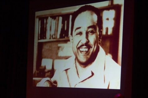 Langston Hughes being shown on a powerpoint during the multimedia concert