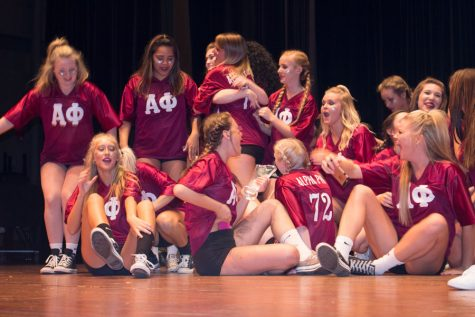 Members of Alpha Phi participate in the third annual Greekdom Stroll Off.