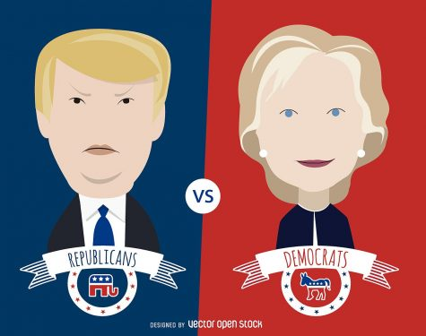 Creative Commons  illustration featuring Donald Trump and Hillary Clinton.