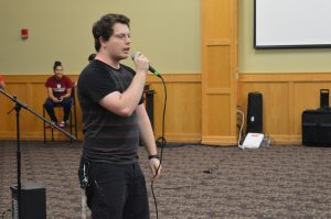 Josh Peterson, music therapy sophomore, began his performance by beatboxing, but began singing after multiple technical difficulties with the sound system.