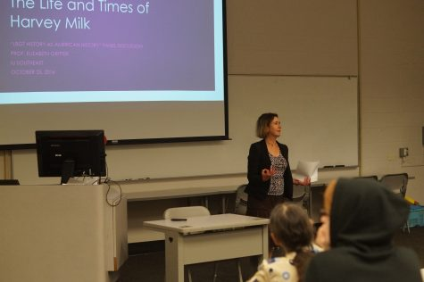Elizabeth Gritter, professor of history, speaking about Harvey Milk, a gay rights activist.