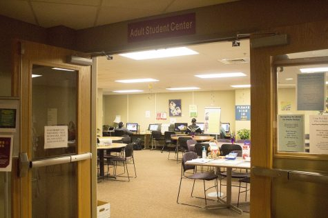 The Adult Student Center is located on the top floor of University Center South in room 206.