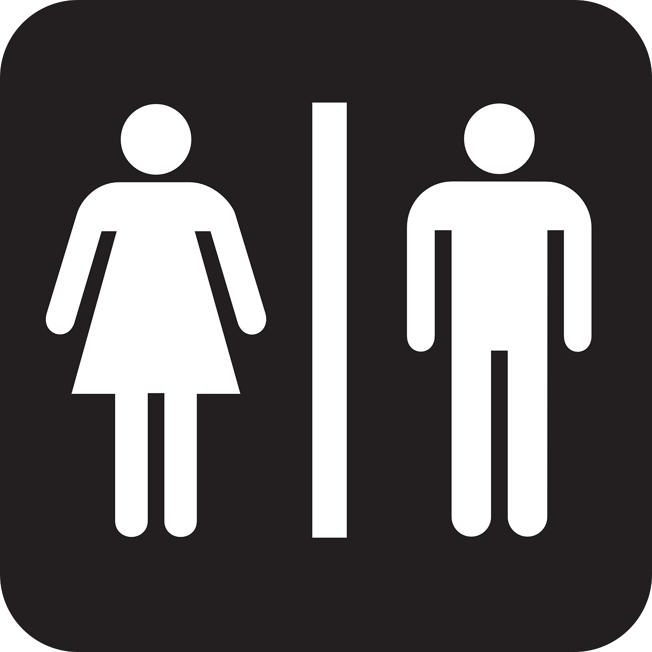 bathroom door restroom metal pin male female woman sign man gender his