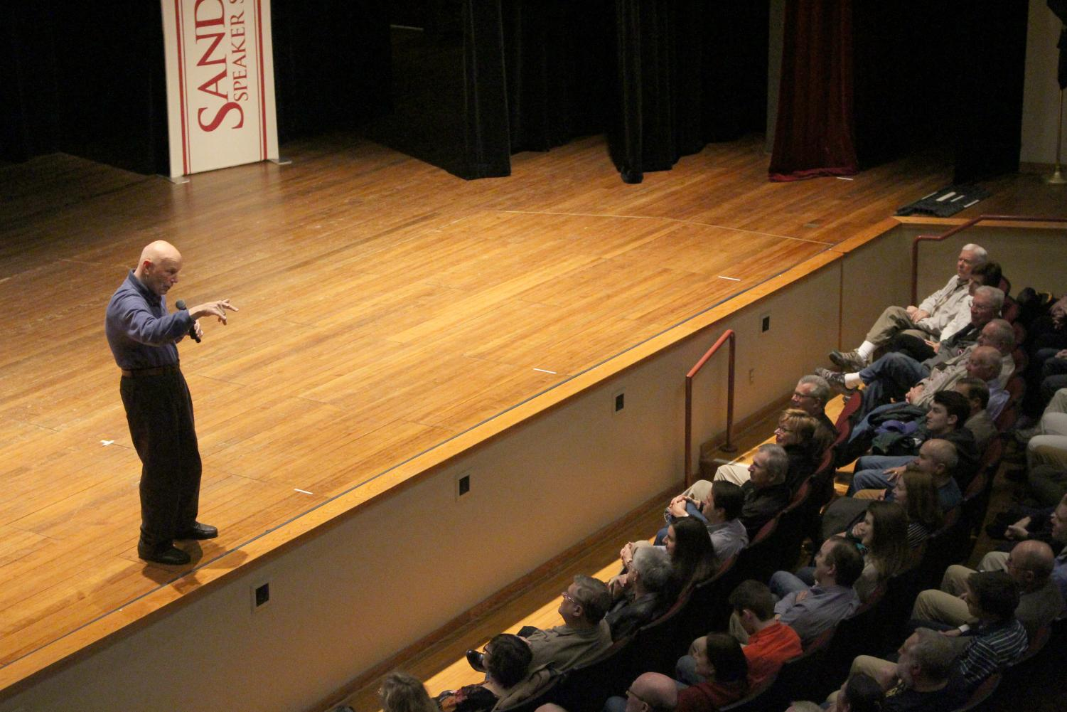 Astronaut, Story Musgrave, speaks to a sold-out crowd in the Ogle Center on Monday, Feb. 26.
