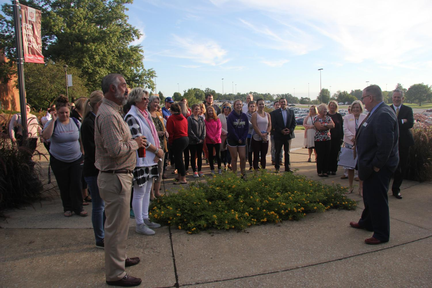 IUS students and faculty gathered at McCullough Plaza at 8:45 a.m. on Tuesday to remember the attacks on Sept 11, 17 years ago.