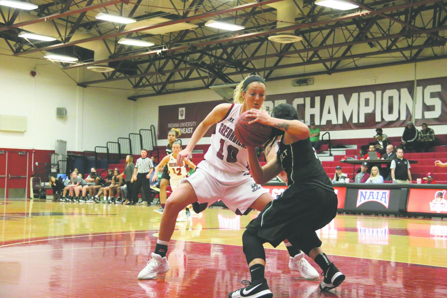 Senior forward Josie Hockman applies pressure on a press in last season's 68-46 loss to Roosevelt University. Hockman finished the game with 10 points and four rebounds.