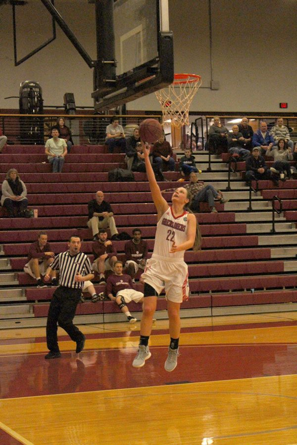 Junior Ariana Sandefur moves for a fast break layup in the second half of IU Southeast's 77-67 win over Carlow University.