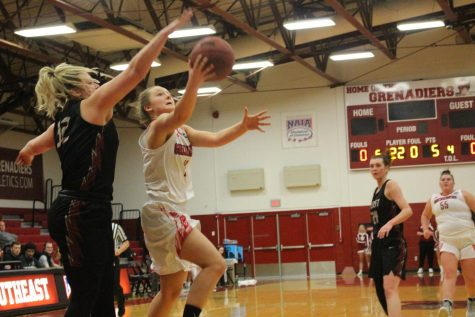Freshman Lauren Lambdin goes up for a shot in the first half against IU East