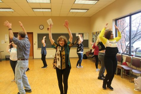 Adjunct Lecturer in Humanities and dace instructor Jane Blum teaching her class some moves from the Hokey Pokey. Photo by Tessa Arnold