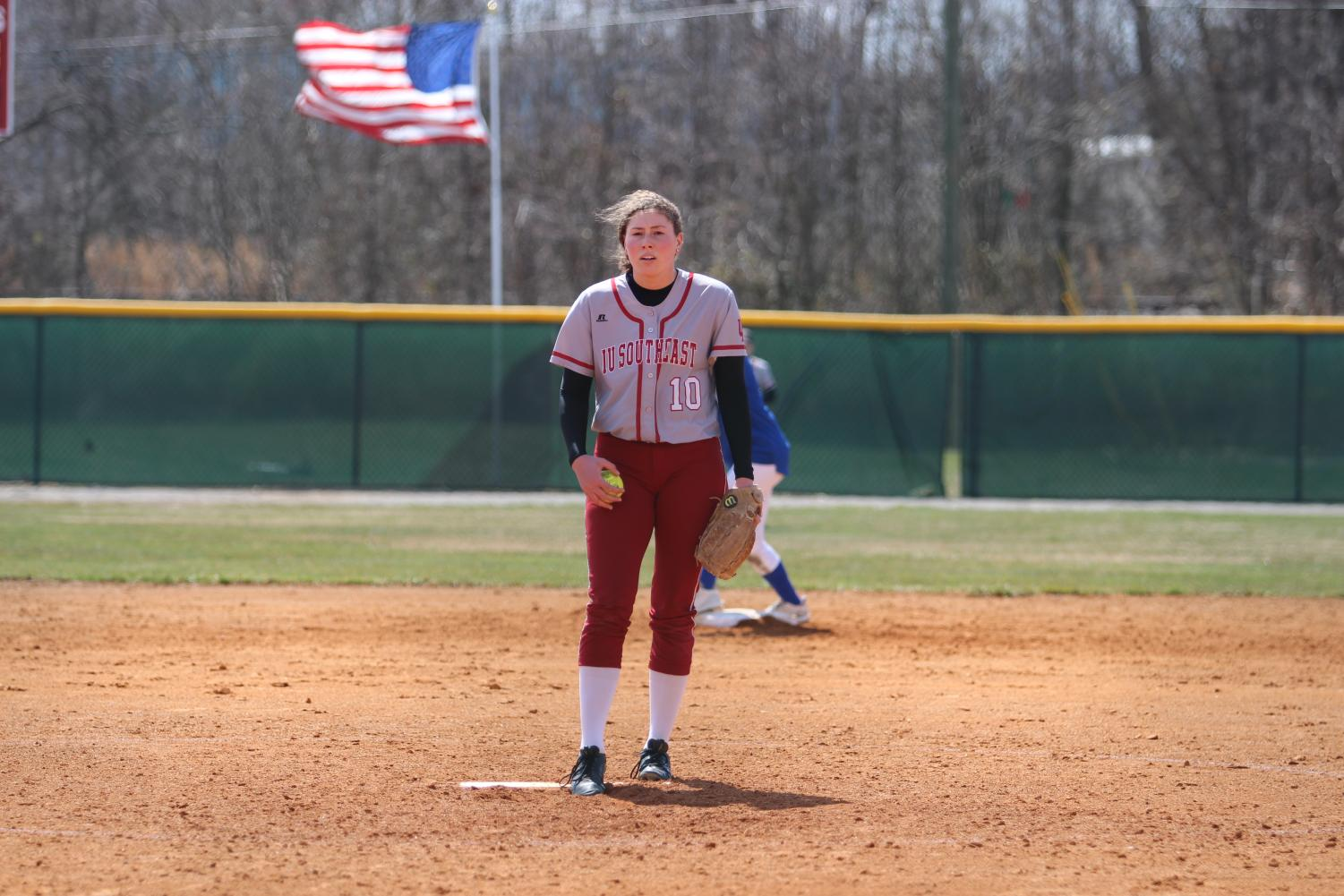 Pitcher Becca Schoenung looks for the sign from catcher Reecie Gilliam in game one of last Friday's doubleheader versus Midway University.