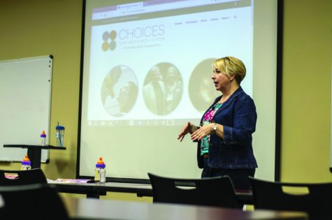 Rose Condra, head of choices, leads a presentation on the different ways to volunteer at Choices.