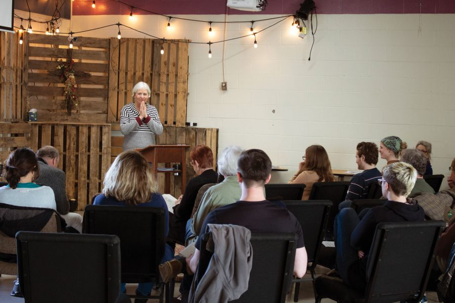 CCL+Indiana+Chapter+Leader+Marcia+Veldman+poses+a+question+to+a+crowd+of+over+30+supporters+during+a+climate+advocate+workshop.+The+CCL+was+founded+in+2007.