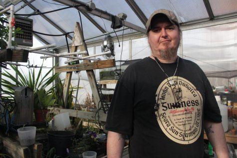Daughtery has enjoyed taking care of the main greenhouse for over two years and said the greenhouse provides great opportunities for IU Southeast students. Photo by Callie Manias.