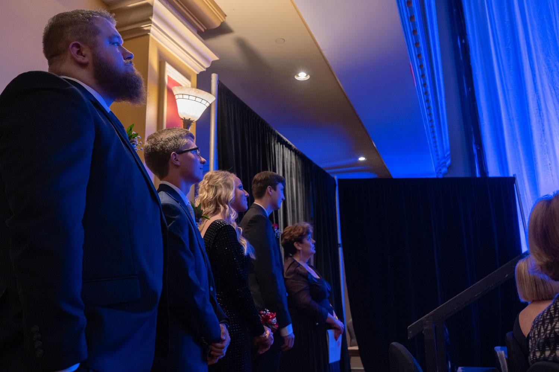 Juniors Cory Byers, Bradley Cross, Amanda Goodridge and Adam Beasley wait offstage to receive their awards.