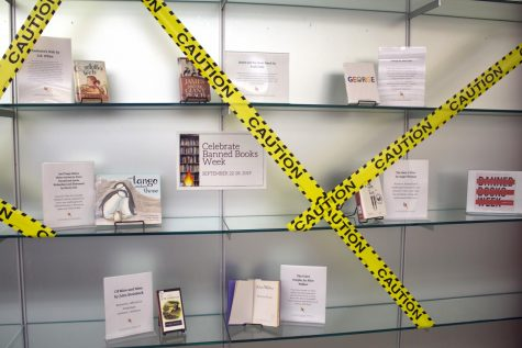 The Banned Books display located in the IUS library features titles including