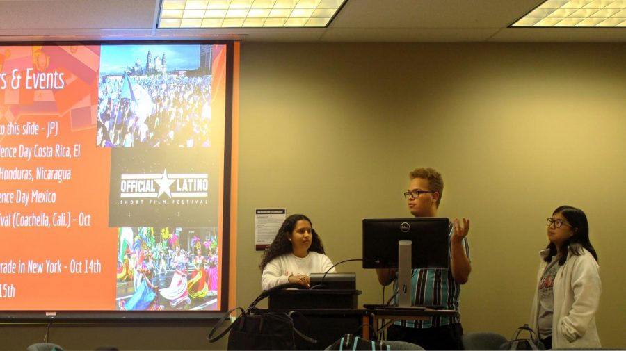 From left to right President Leslie Venzor, Recruitment Officer Josiah Pohl and Secretary Sarah Fischer at the Multicultural Student Union's weekly meeting in UC 122.